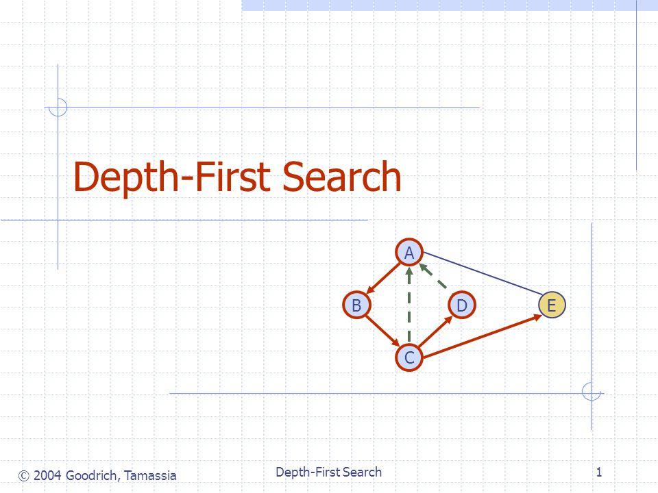 © 2004 Goodrich, Tamassia Depth-First Search1 DB A C E