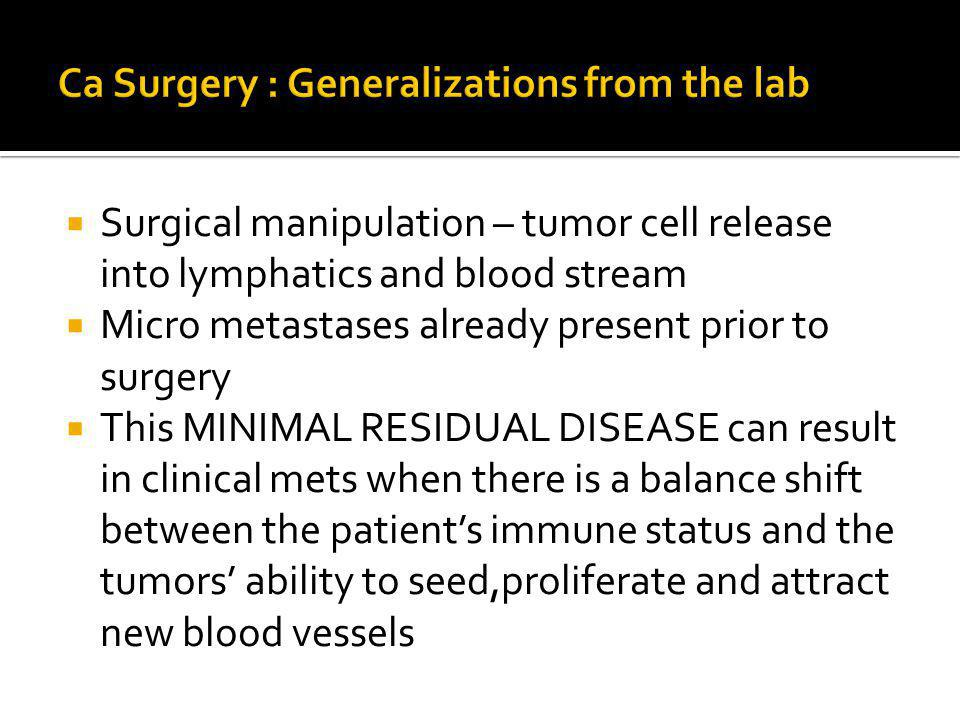Surgical manipulation – tumor cell release into lymphatics and blood stream Micro metastases already present prior to surgery This MINIMAL RESIDUAL DISEASE can result in clinical mets when there is a balance shift between the patients immune status and the tumors ability to seed,proliferate and attract new blood vessels
