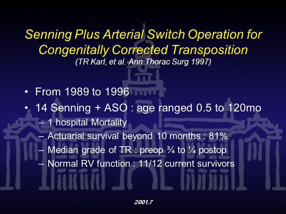 2001.7 Senning Plus Arterial Switch Operation for Congenitally Corrected Transposition (TR Karl, et al. Ann Thorac Surg 1997) From 1989 to 1996 14 Sen