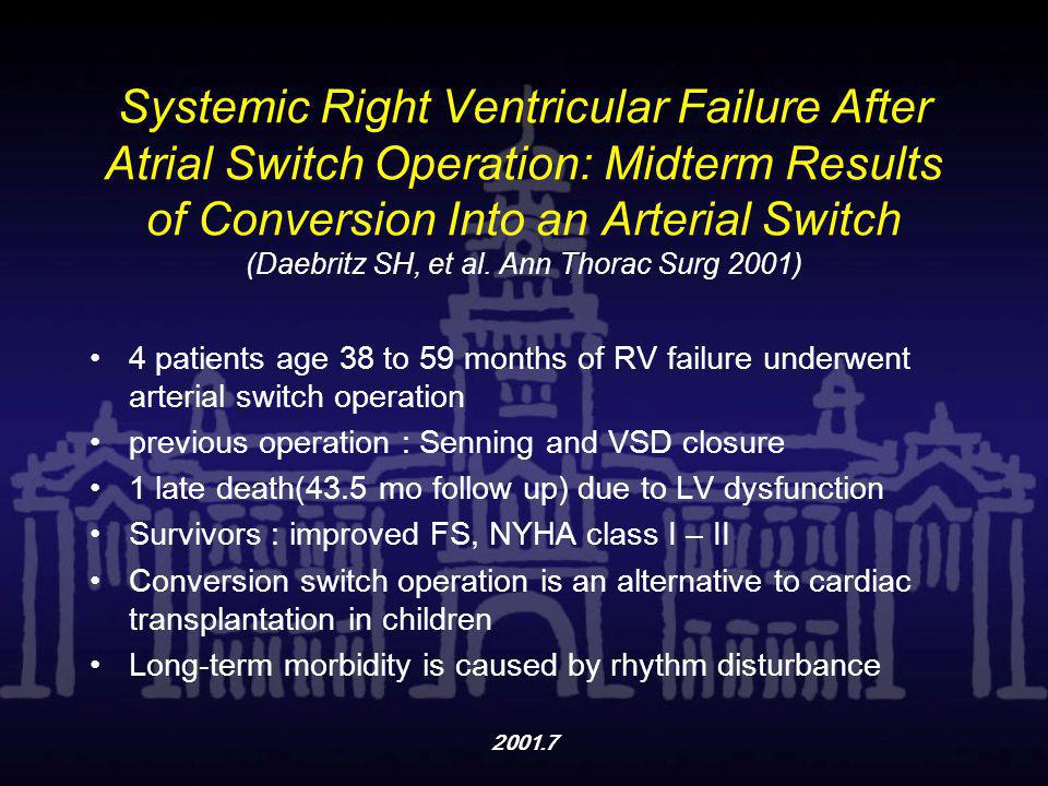 2001.7 Systemic Right Ventricular Failure After Atrial Switch Operation: Midterm Results of Conversion Into an Arterial Switch (Daebritz SH, et al. An