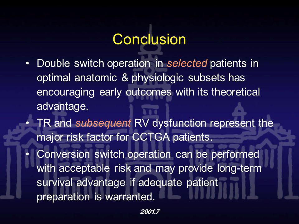 2001.7 Conclusion Double switch operation in selected patients in optimal anatomic & physiologic subsets has encouraging early outcomes with its theor