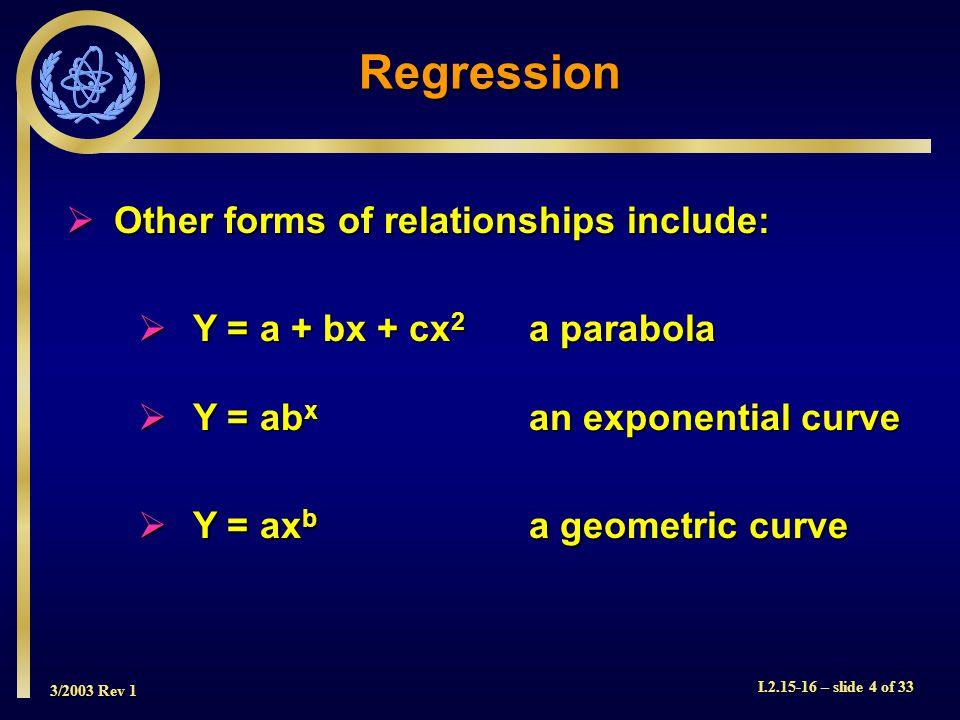 3/2003 Rev 1 I.2.15-16 – slide 4 of 33 Other forms of relationships include: Other forms of relationships include: Y = a + bx + cx 2 a parabola Y = a + bx + cx 2 a parabola Y = ab x an exponential curve Y = ab x an exponential curve Y = ax b a geometric curve Y = ax b a geometric curve Regression