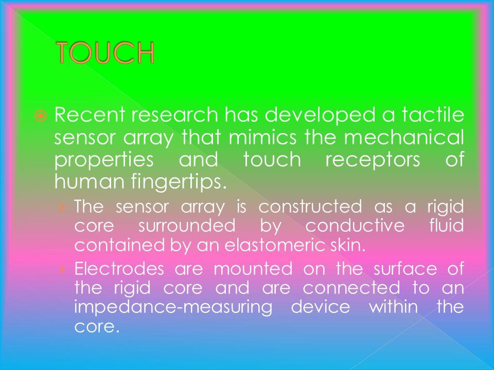 Recent research has developed a tactile sensor array that mimics the mechanical properties and touch receptors of human fingertips. The sensor array i