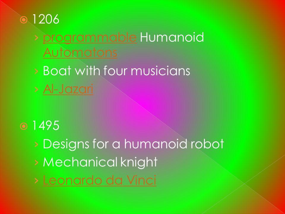 1206 programmable Humanoid Automatons Boat with four musicians Al-Jazari 1495 Designs for a humanoid robot Mechanical knight Leonardo da Vinci