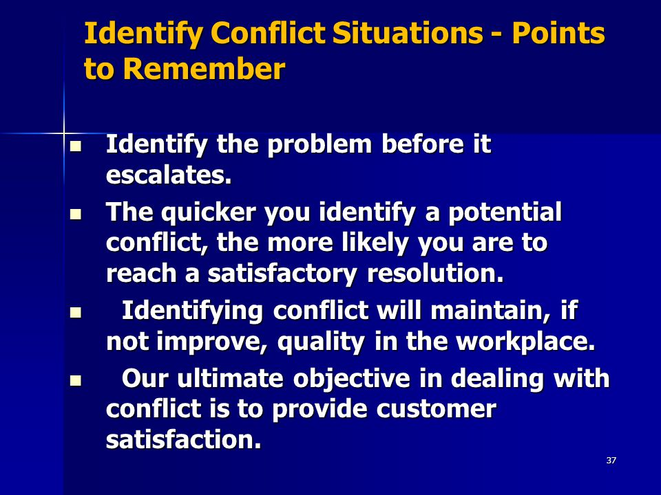 Identify Conflict Situations - Points to Remember Identify the problem before it escalates.