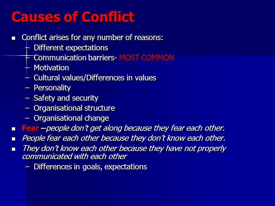 Causes of Conflict Conflict arises for any number of reasons: Conflict arises for any number of reasons: –Different expectations –Communication barriers- MOST COMMON –Motivation –Cultural values/Differences in values –Personality –Safety and security –Organisational structure –Organisational change Fear –people dont get along because they fear each other.