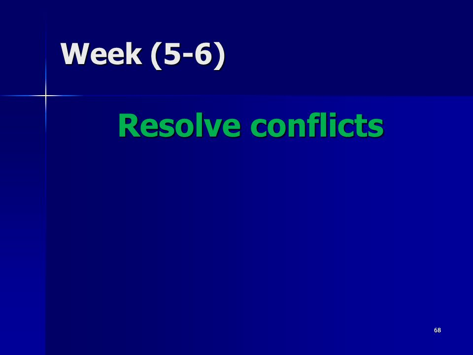 Week (5-6) Resolve conflicts 68