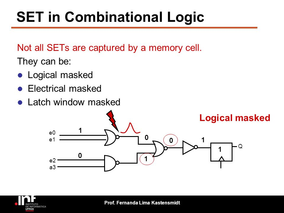 Prof. Fernanda Lima Kastensmidt SET in Combinational Logic e0 e1 e2 a3 Q 1 0 0 1 Not all SETs are captured by a memory cell. They can be: Logical mask