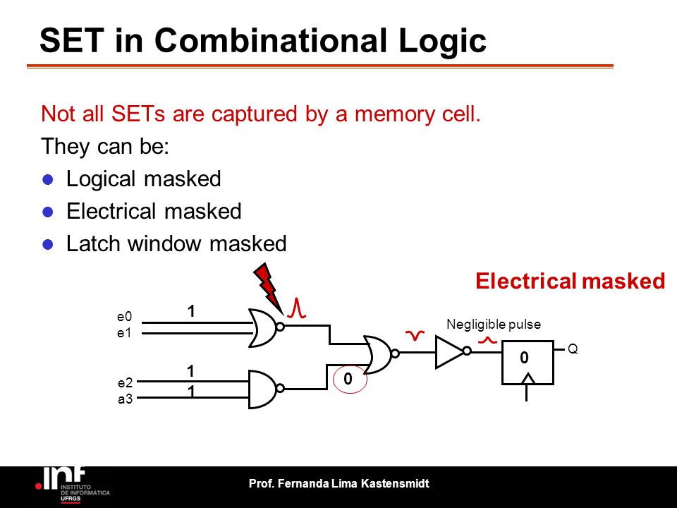 Prof. Fernanda Lima Kastensmidt SET in Combinational Logic e0 e1 e2 a3 Q 0 1 1 Electrical masked 0 1 1 0 0 Not all SETs are captured by a memory cell.