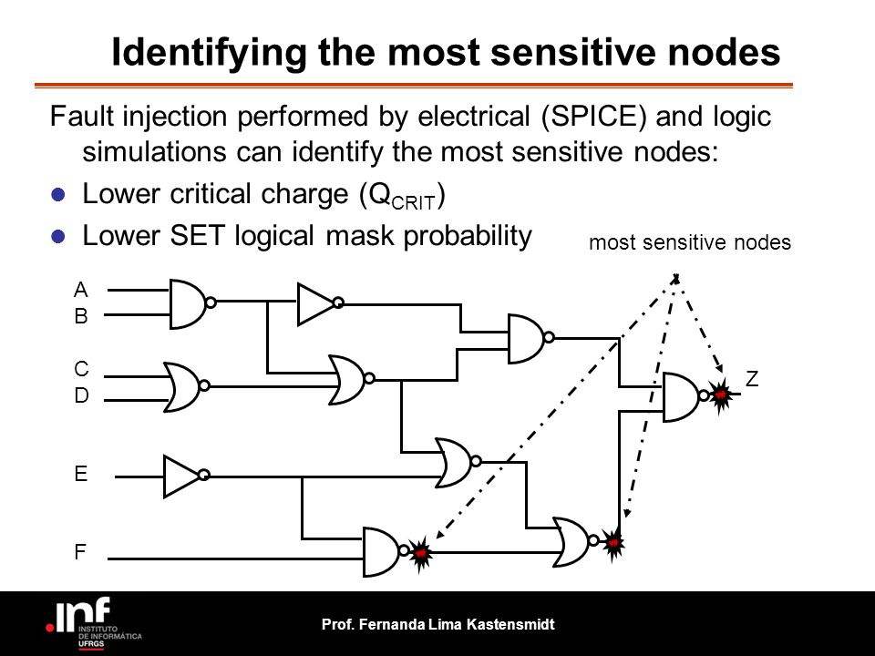 Prof. Fernanda Lima Kastensmidt Identifying the most sensitive nodes Fault injection performed by electrical (SPICE) and logic simulations can identif