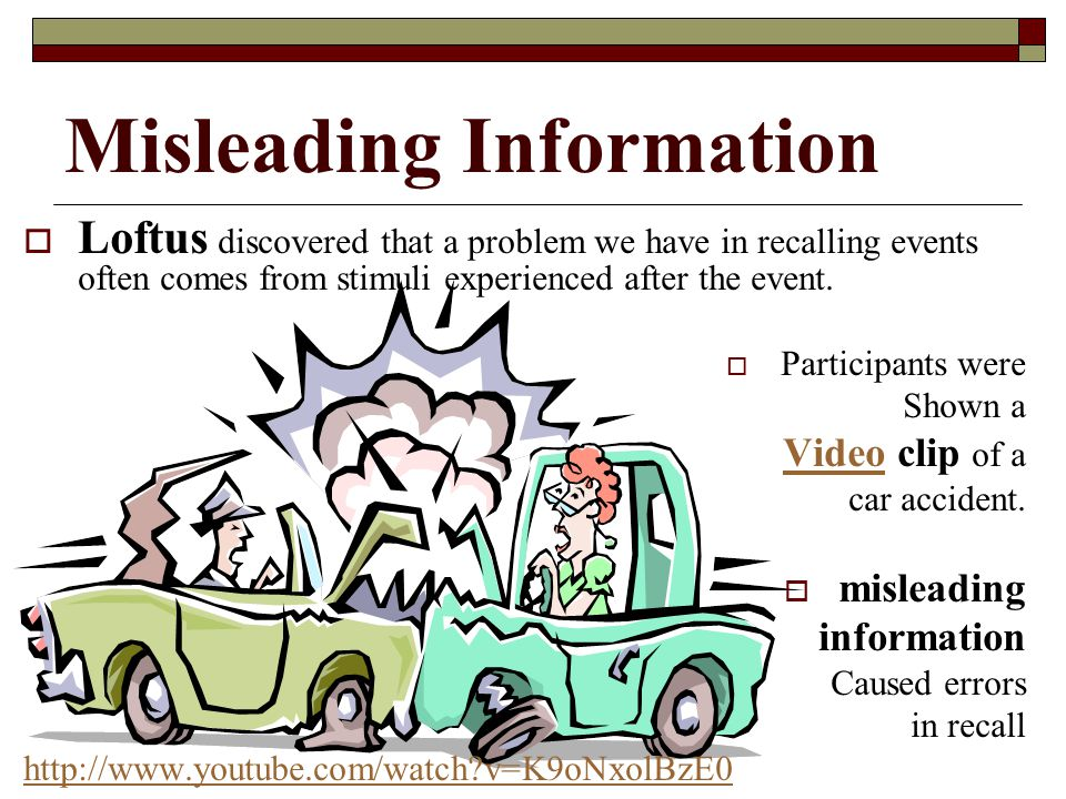 Misleading Information Loftus discovered that a problem we have in recalling events often comes from stimuli experienced after the event. Participants