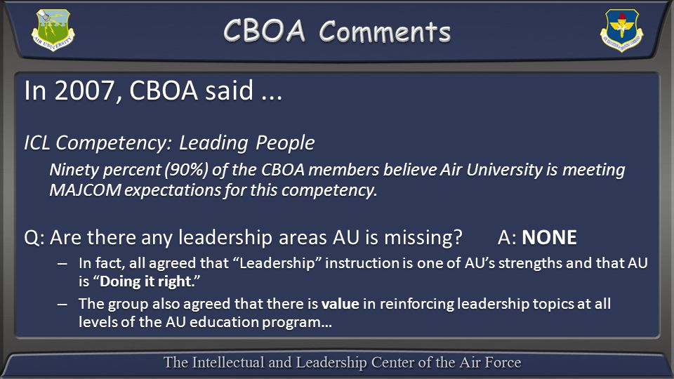 In 2007, CBOA said...
