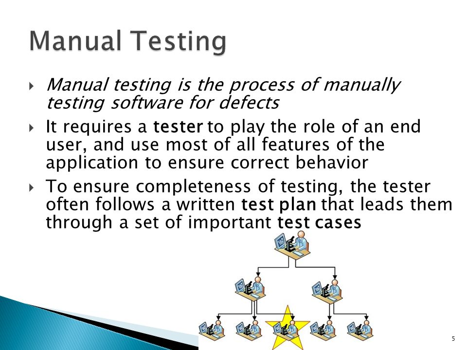 Manual testing is the process of manually testing software for defects It requires a tester to play the role of an end user, and use most of all featu