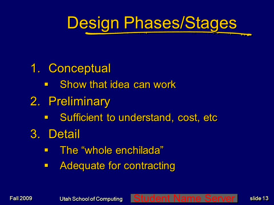 Student Name Server Utah School of Computing slide 12 Fall 2009 Design Discipline (2) Sunset the lifecycle Expanded spec New technologies change design equations Just shoot it -Start over.