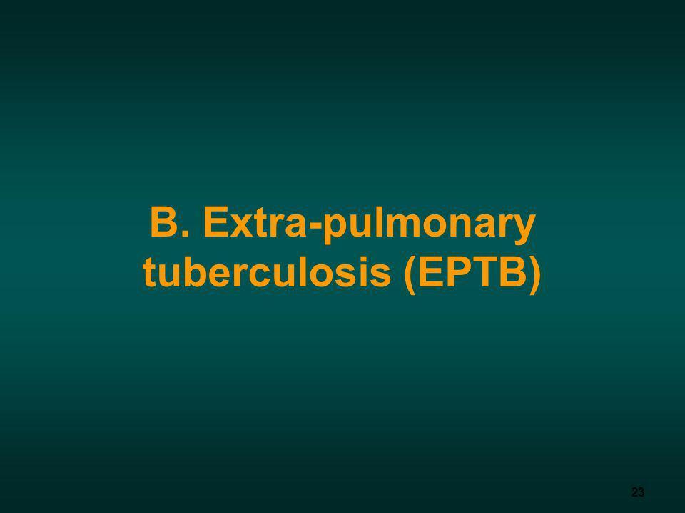 23 B. Extra-pulmonary tuberculosis (EPTB)
