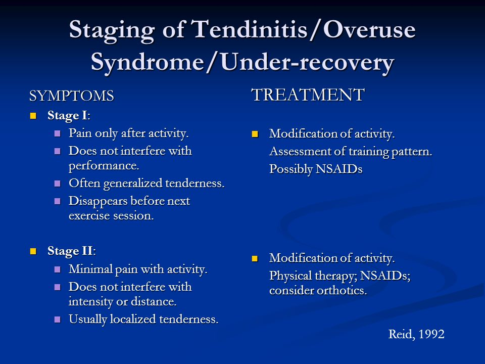 Staging of Tendinitis/Overuse Syndrome/Under-recovery SYMPTOMS n Stage I: n Pain only after activity.