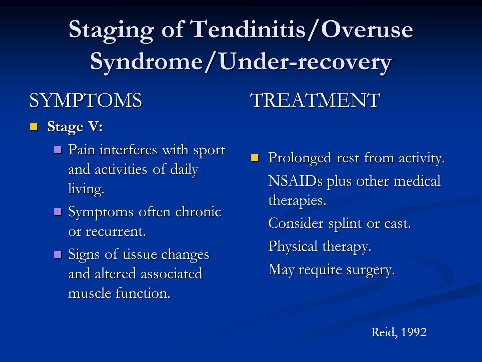 Staging of Tendinitis/Overuse Syndrome/Under-recovery SYMPTOMS n Stage V: n Pain interferes with sport and activities of daily living.