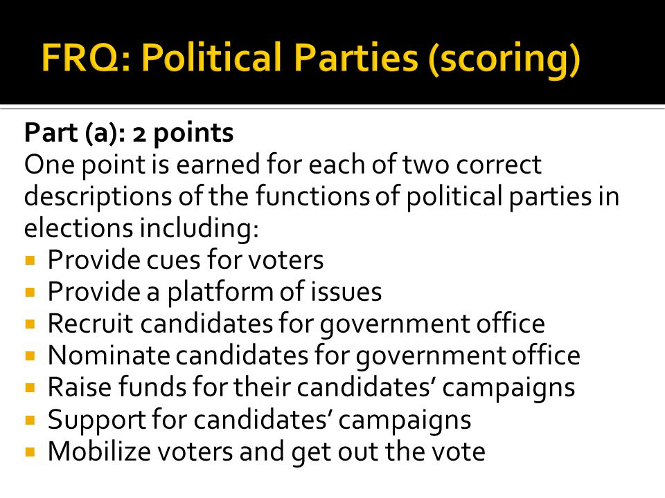 Part (a): 2 points One point is earned for each of two correct descriptions of the functions of political parties in elections including: Provide cues