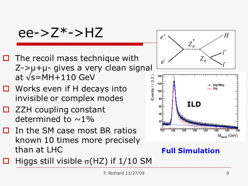 9 ee->Z*->HZ The recoil mass technique with Z->µ+µ- gives a very clean signal at s=MH+110 GeV Works even if H decays into invisible or complex modes ZZH coupling constant determined to ~1% In the SM case most BR ratios known 10 times more precisely than at LHC Higgs still visible (HZ) if 1/10 SM ILD Full Simulation