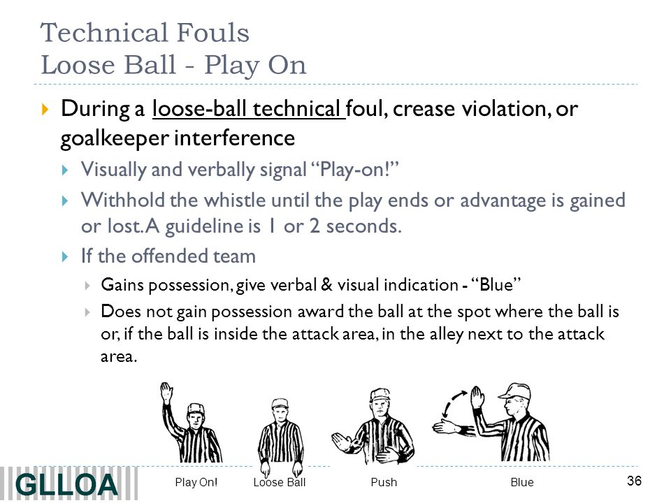 36 Technical Fouls Loose Ball - Play On During a loose-ball technical foul, crease violation, or goalkeeper interference Visually and verbally signal