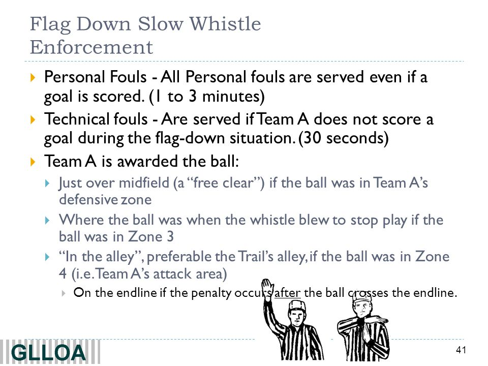 41 Flag Down Slow Whistle Enforcement Personal Fouls - All Personal fouls are served even if a goal is scored. (1 to 3 minutes) Technical fouls - Are