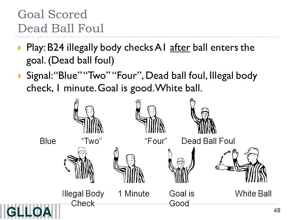 49 Goal Scored Dead Ball Foul Play: B24 illegally body checks A1 after ball enters the goal. (Dead ball foul) Signal: Blue Two Four, Dead ball foul, I