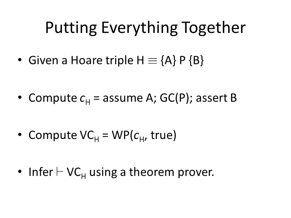Putting Everything Together Given a Hoare triple H ´ {A} P {B} Compute c H = assume A; GC(P); assert B Compute VC H = WP(c H, true) Infer ` VC H using a theorem prover.
