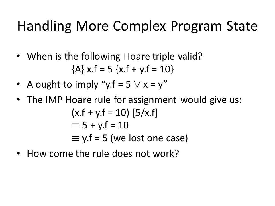 Handling More Complex Program State When is the following Hoare triple valid.