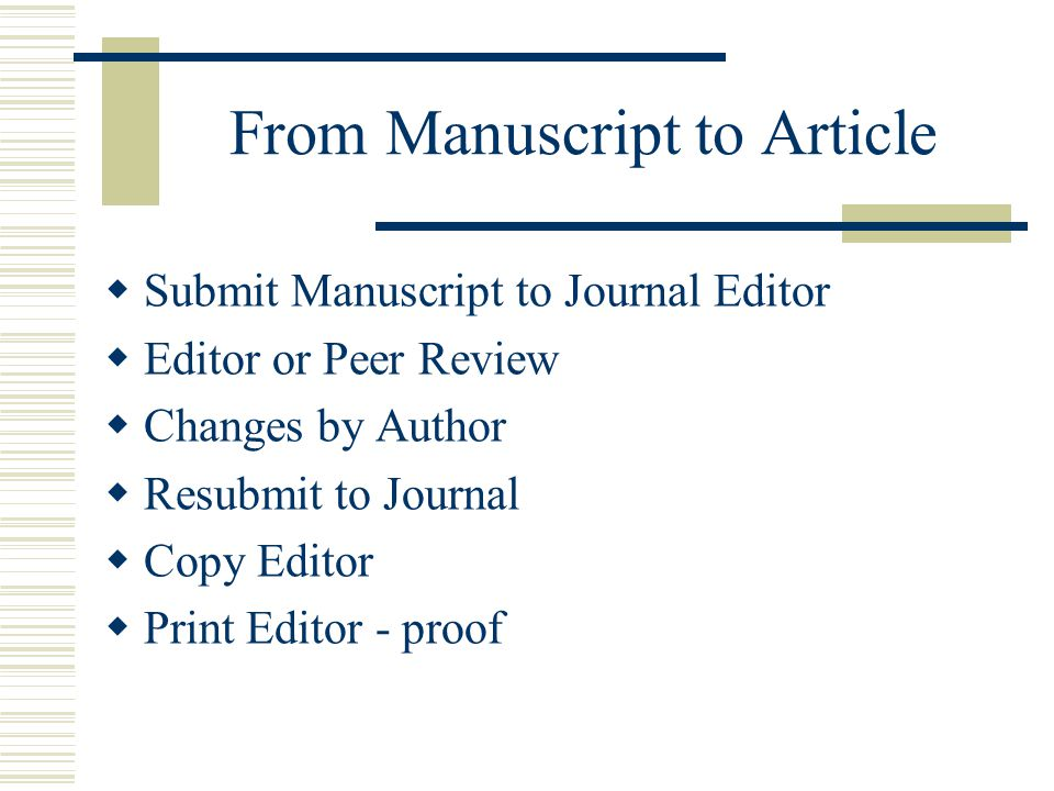 From Manuscript to Article Submit Manuscript to Journal Editor Editor or Peer Review Changes by Author Resubmit to Journal Copy Editor Print Editor -