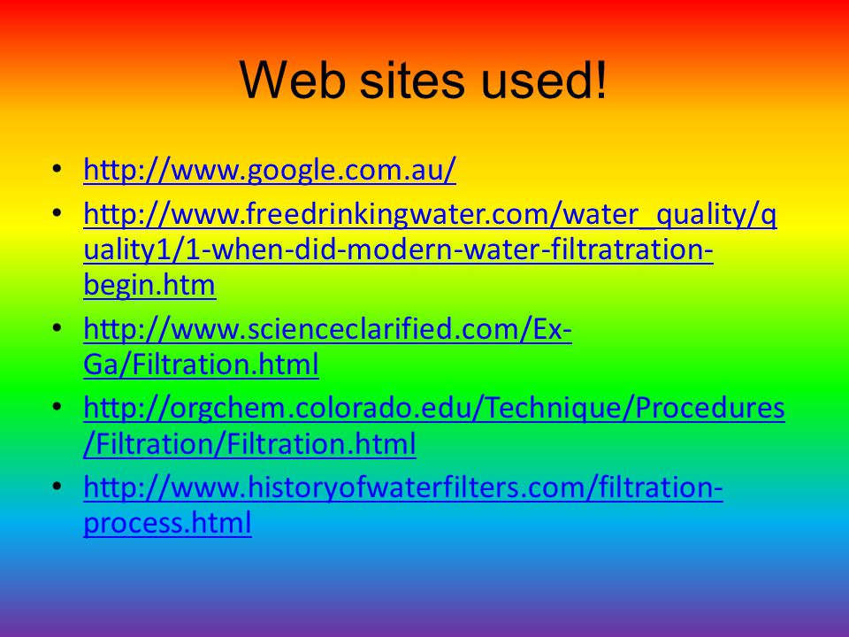Web sites used.