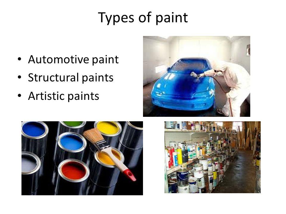 Types of paint Automotive paint Structural paints Artistic paints
