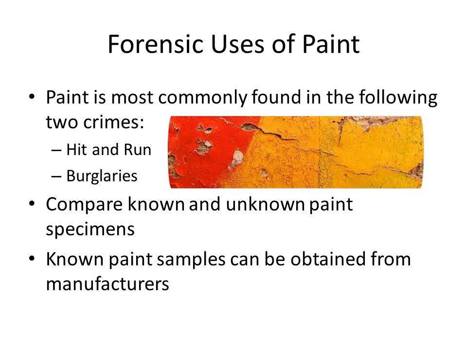 Forensic Uses of Paint Paint is most commonly found in the following two crimes: – Hit and Run – Burglaries Compare known and unknown paint specimens Known paint samples can be obtained from manufacturers