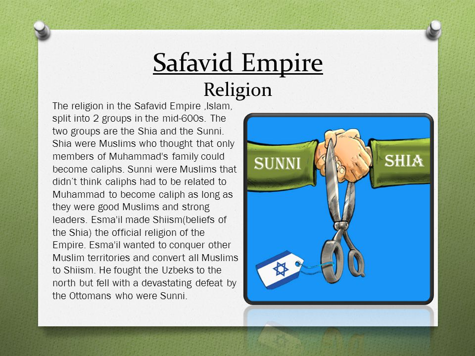 Safavid Empire Religion The religion in the Safavid Empire,Islam, split into 2 groups in the mid-600s. The two groups are the Shia and the Sunni. Shia