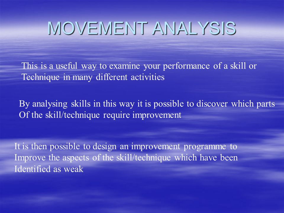 MOVEMENT ANALYSIS This is a useful way to examine your performance of a skill or Technique in many different activities By analysing skills in this way it is possible to discover which parts Of the skill/technique require improvement It is then possible to design an improvement programme to Improve the aspects of the skill/technique which have been Identified as weak