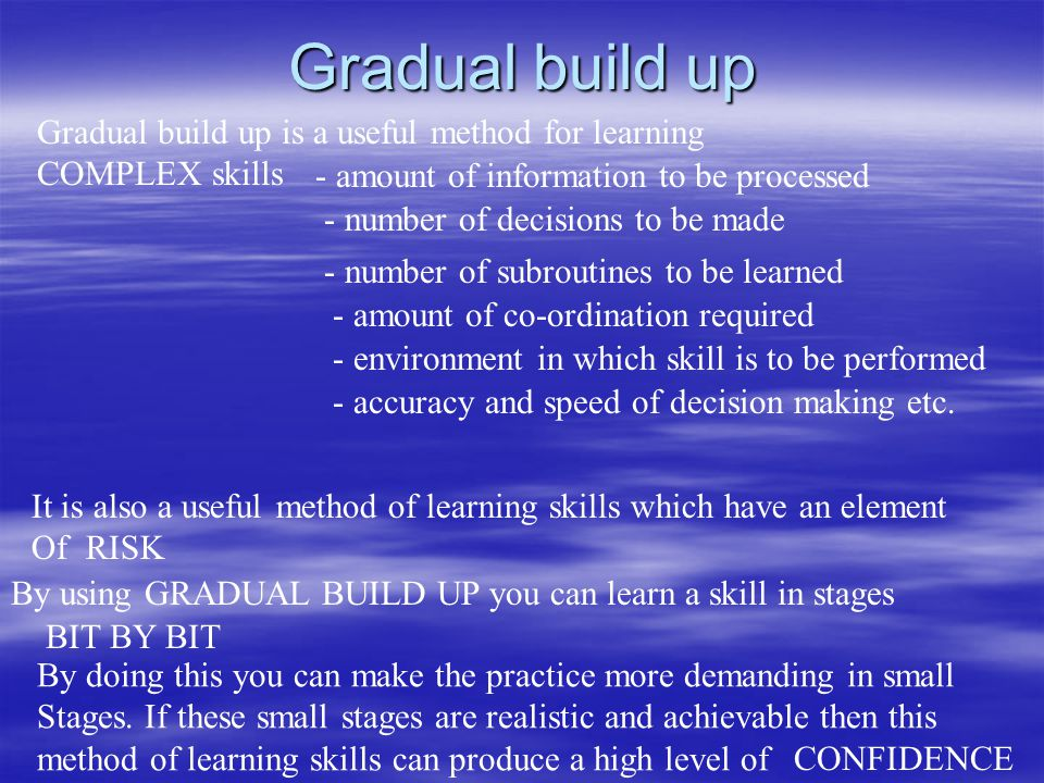 Gradual build up Gradual build up is a useful method for learning COMPLEX skills It is also a useful method of learning skills which have an element Of RISK By using GRADUAL BUILD UP you can learn a skill in stages BIT BY BIT By doing this you can make the practice more demanding in small Stages.
