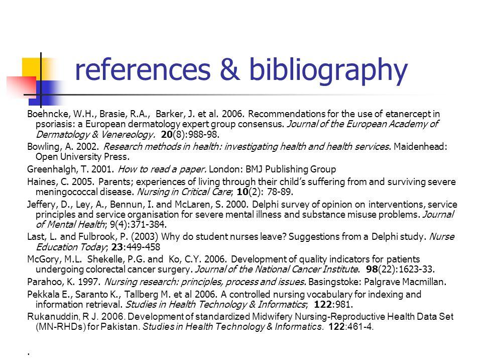 references & bibliography Boehncke, W.H., Brasie, R.A., Barker, J.