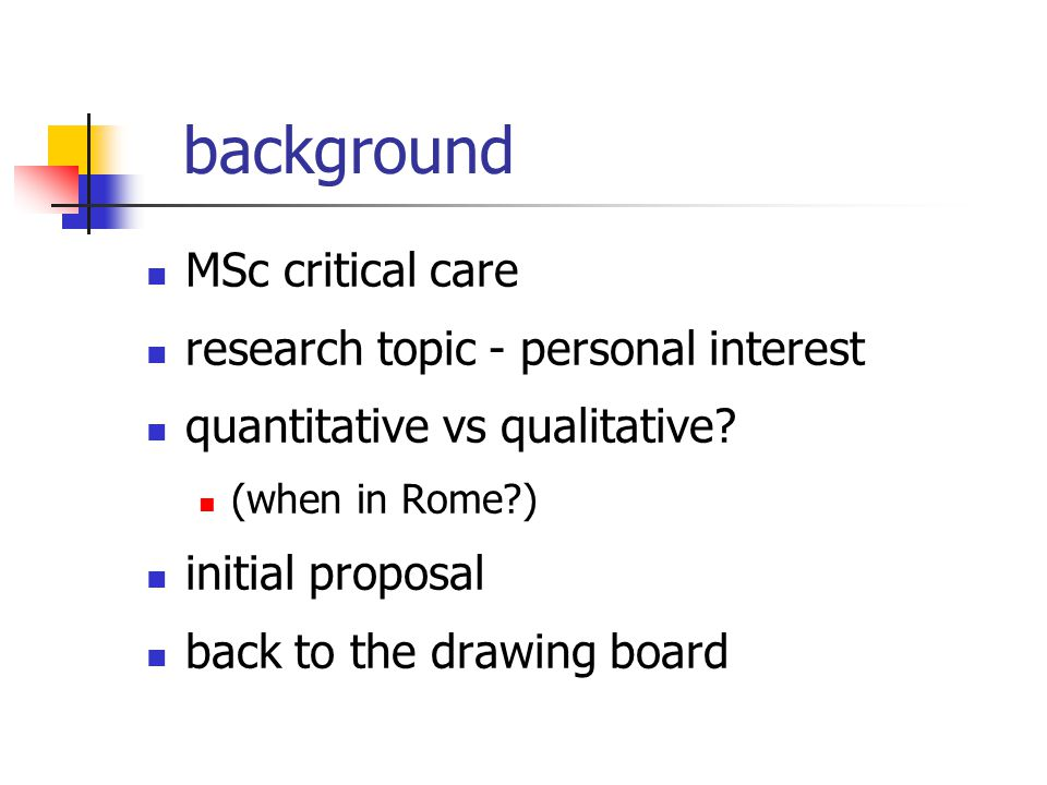 background MSc critical care research topic - personal interest quantitative vs qualitative.