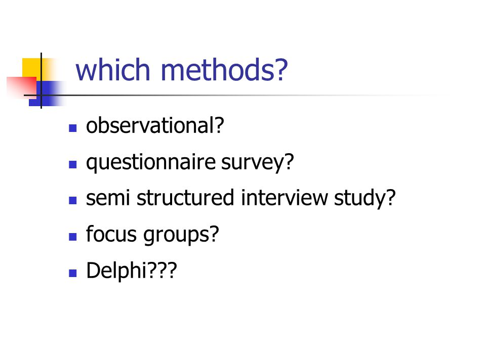 which methods. observational. questionnaire survey.
