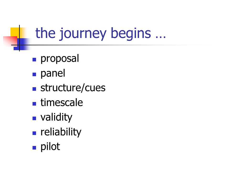 the journey begins … proposal panel structure/cues timescale validity reliability pilot