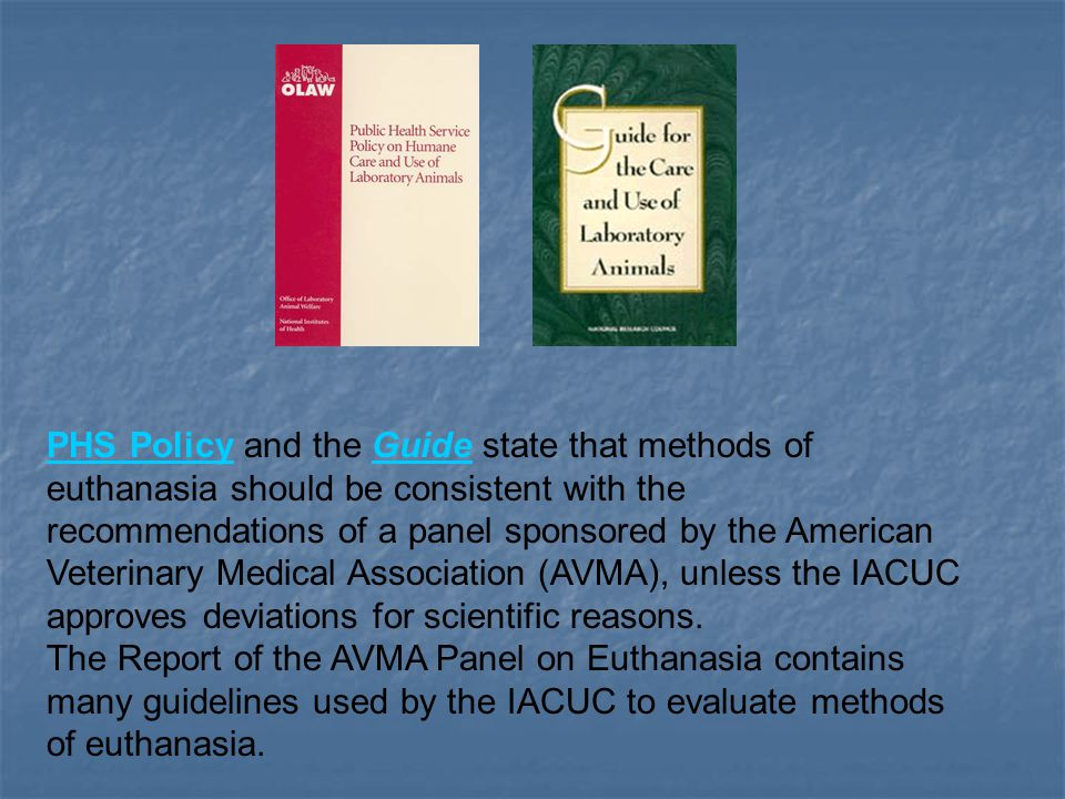 PHS PolicyPHS Policy and the Guide state that methods of euthanasia should be consistent with the recommendations of a panel sponsored by the American Veterinary Medical Association (AVMA), unless the IACUC approves deviations for scientific reasons.Guide The Report of the AVMA Panel on Euthanasia contains many guidelines used by the IACUC to evaluate methods of euthanasia.