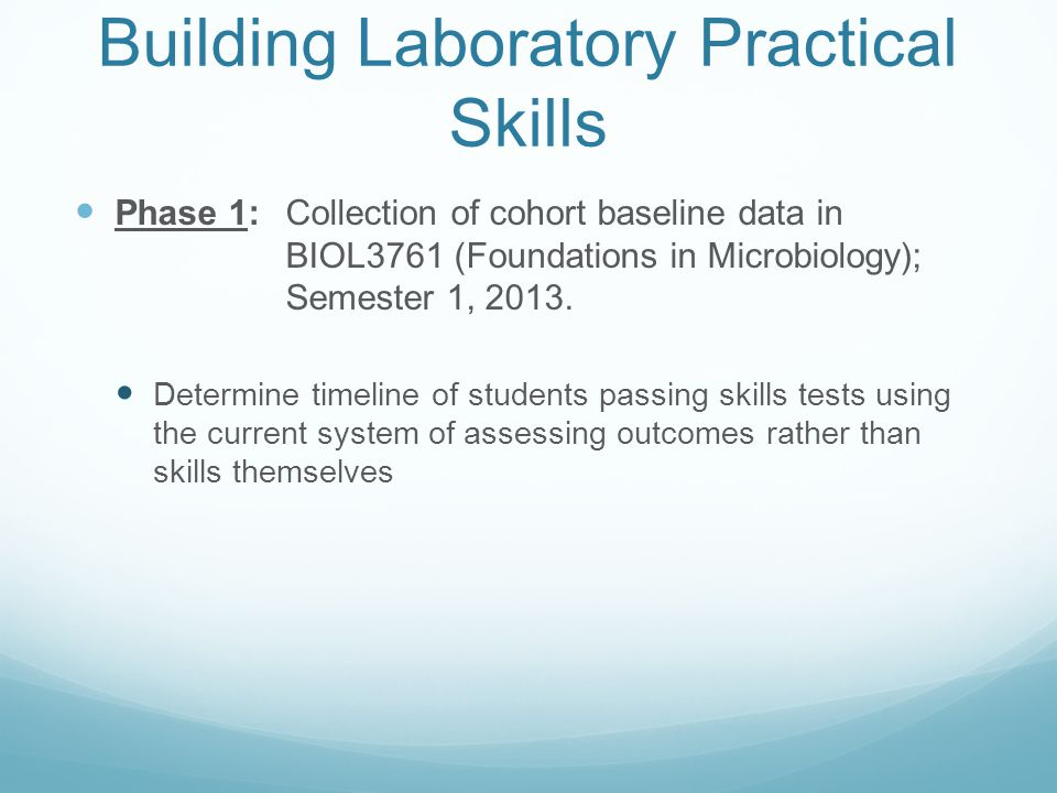 Building Laboratory Practical Skills Phase 1: Collection of cohort baseline data in BIOL3761 (Foundations in Microbiology); Semester 1, 2013. Determin