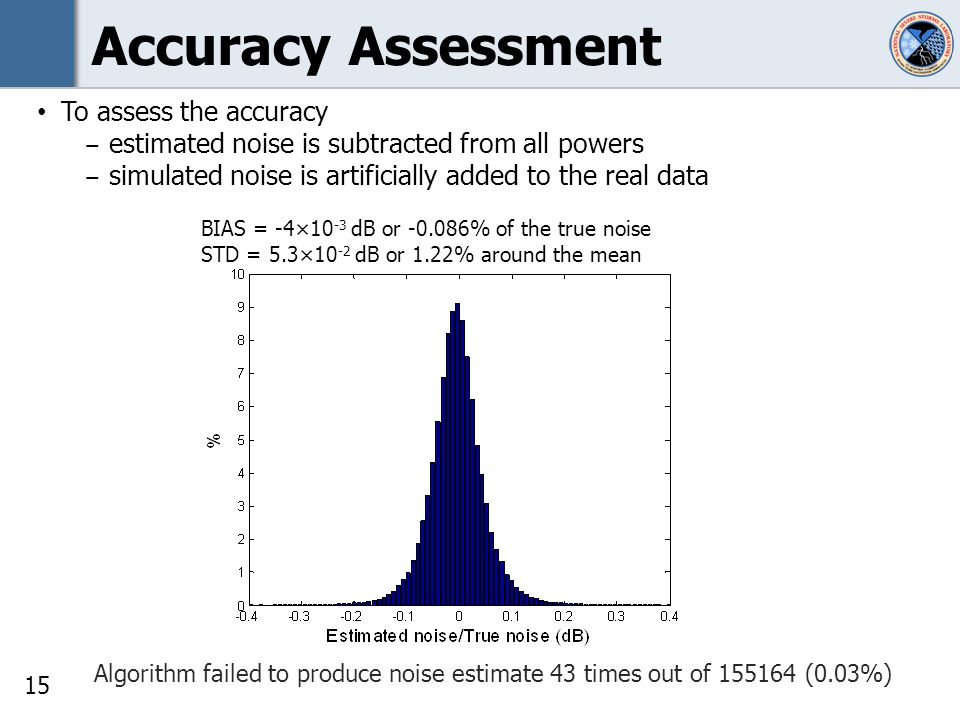 15 Accuracy Assessment Algorithm failed to produce noise estimate 43 times out of 155164 (0.03%) BIAS = -4×10 -3 dB or -0.086% of the true noise STD = 5.3×10 -2 dB or 1.22% around the mean To assess the accuracy estimated noise is subtracted from all powers simulated noise is artificially added to the real data