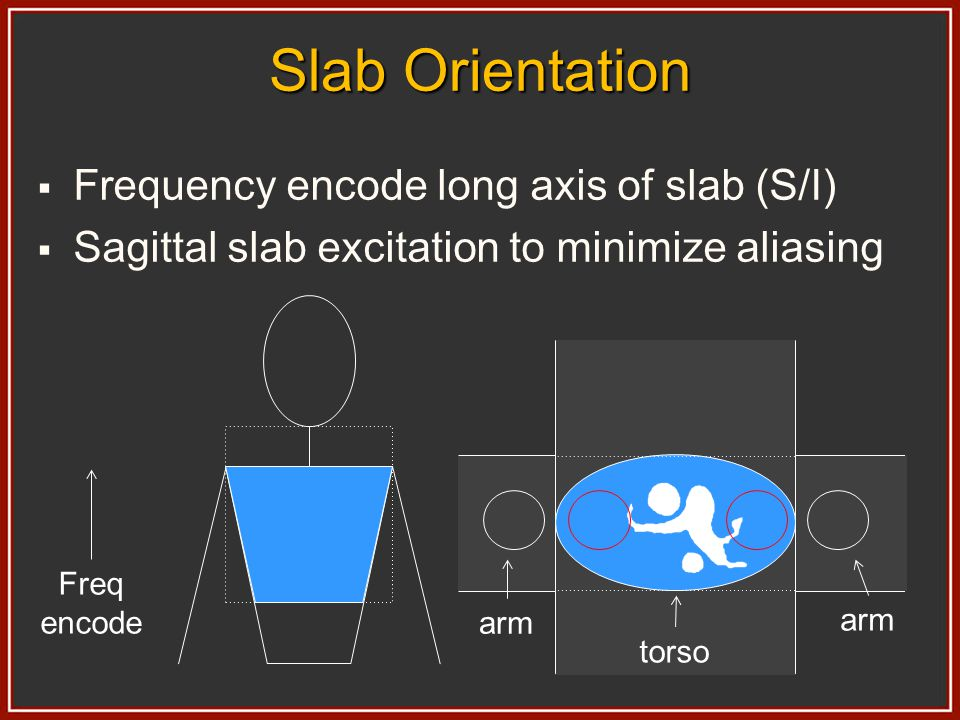 Slab Orientation Frequency encode long axis of slab (S/I) Sagittal slab excitation to minimize aliasing Freq encode arm torso