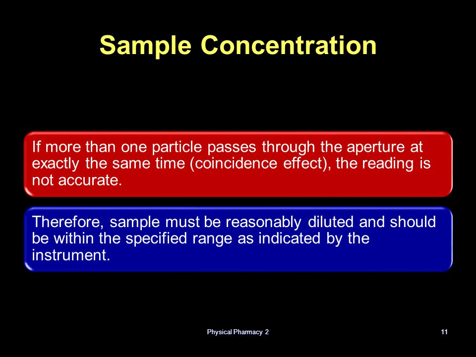Physical Pharmacy 211 Sample Concentration If more than one particle passes through the aperture at exactly the same time (coincidence effect), the re