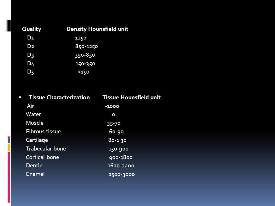 Quality Density Hounsfield unit D1 1250 D2 850-1250 D3 350-850 D4 150-350 D5 <150 Tissue Characterization Tissue Hounsfield unit Air -1000 Water 0 Mus