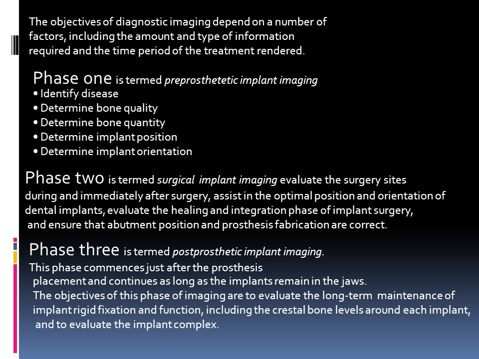 The objectives of diagnostic imaging depend on a number of factors, including the amount and type of information required and the time period of the t
