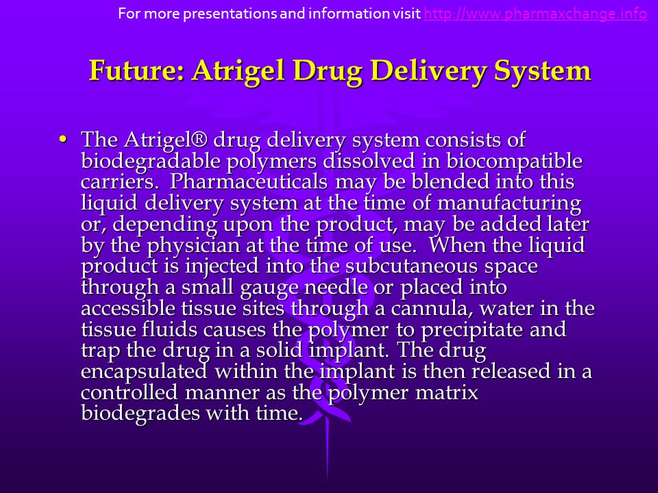 Future: Atrigel Drug Delivery System The Atrigel® drug delivery system consists of biodegradable polymers dissolved in biocompatible carriers. Pharmac