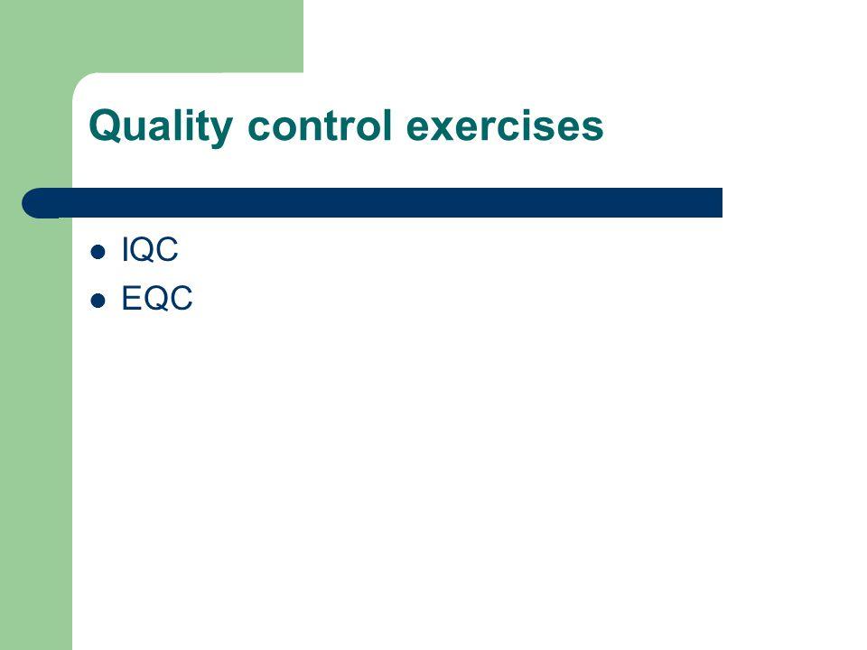 Quality control exercises IQC EQC