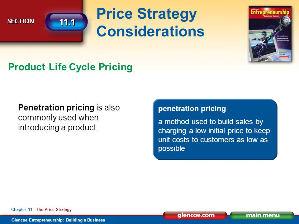 Glencoe Entrepreneurship: Building a Business Price Strategy Considerations SECTION SECTION 11.1 Chapter 11 The Price Strategy Penetration pricing is