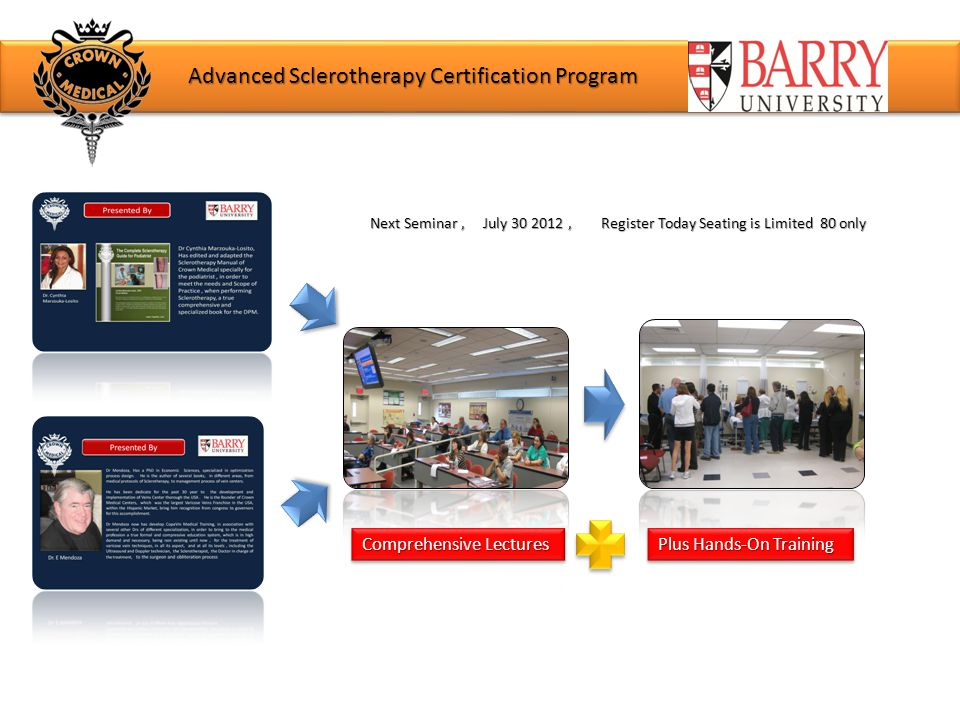 Advanced Sclerotherapy Certification Program Next Seminar, July 30 2012, Register Today Seating is Limited 80 only Comprehensive Lectures Plus Hands-On Training